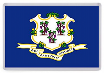 Connecticut State Flag Fridge Magnet. USA